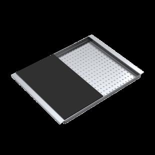Coprivasca rettangolare in acciaio inox con tagliere in HPL nero