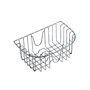 Hanging polished stainless steel basket