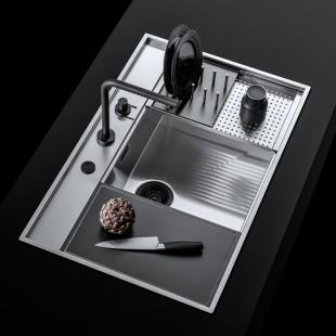 Sliding stainless steel bowl cover with black HPL draining rack