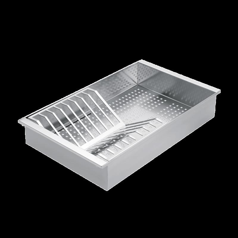 Vassoio forato con scolapiatti removibile in acciaio inox