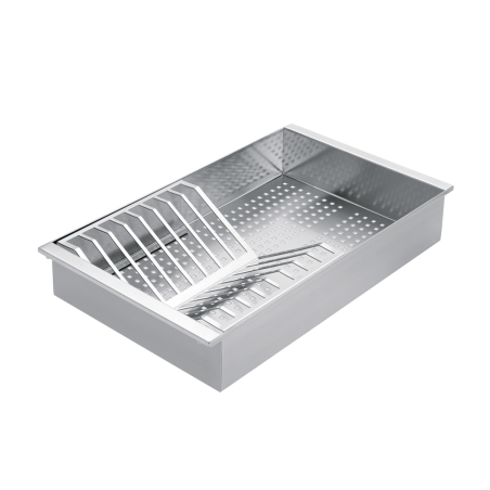 Stainless steel colander with removable draining rack